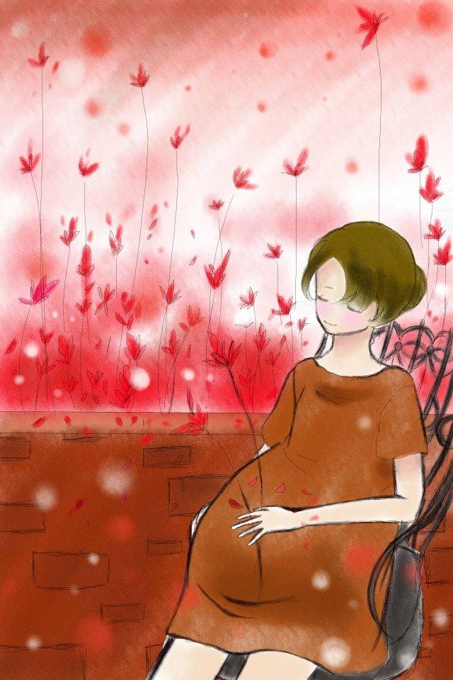 插圖母愛溫暖平 插畫圖片