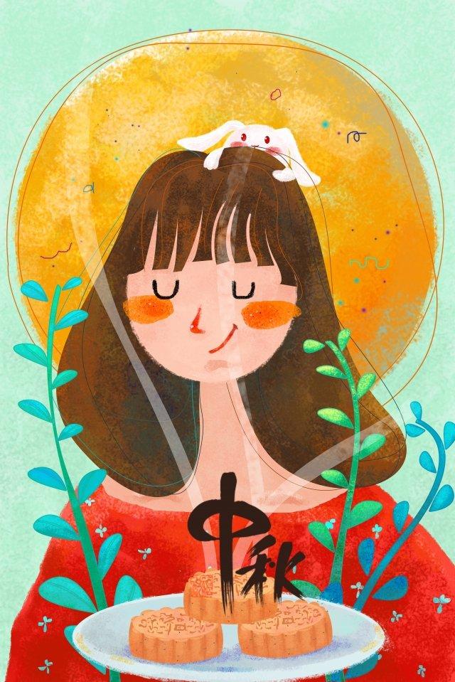 ilustração mid autumn festival girl coelho Material de ilustração