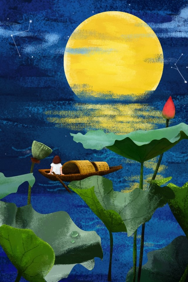 illustration midsummer night girl, Umbrella Boat, Lotus Pond, Lotus illustration image