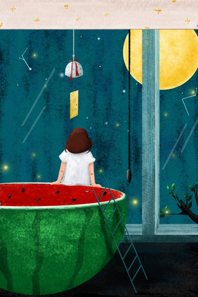 illustration midsummer starry sky girl, Look Up, Constellation, Watermelon illustration image
