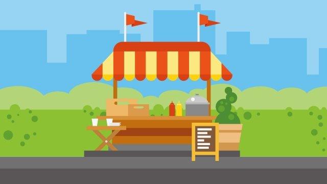 ilustração mobile dining car sobremesa loja comida Material de ilustração