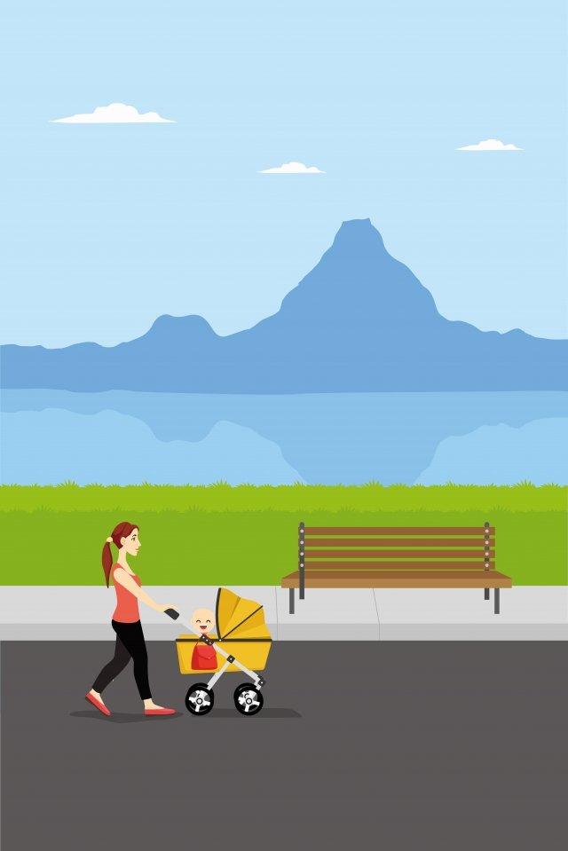 插圖母親嬰兒公園散步 插畫素材