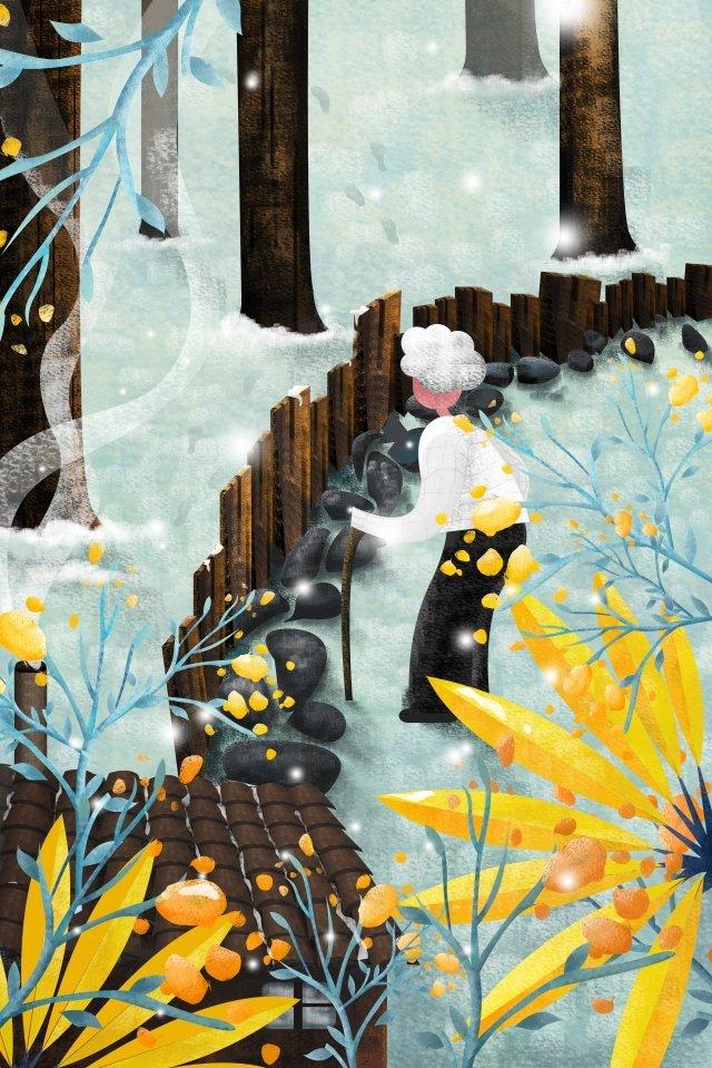 母親節插畫——柴門風雪 插畫 母親節 雪 枯樹 背影 柵欄 石子路 腳印 房子 孤獨 孤獨母親節插畫——柴門風雪  插畫  母親節PNG和PSD圖片素材 illustration image