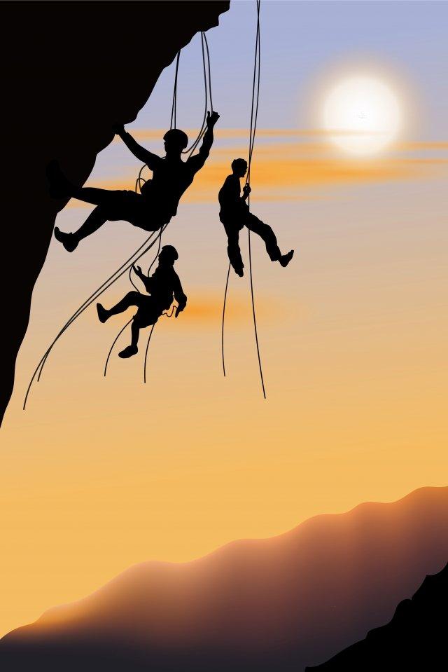 イラスト登山ロッククライマーハイキング イラスト素材