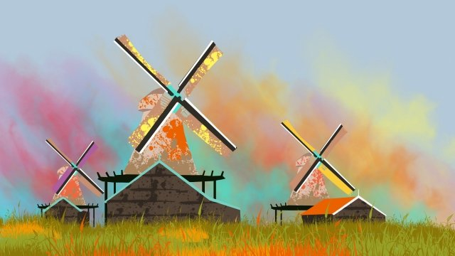 illustration netherlands windmill famous llustration image