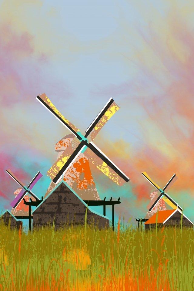 그림 네덜란드 유명한 풍차 삽화 소재 삽화 이미지