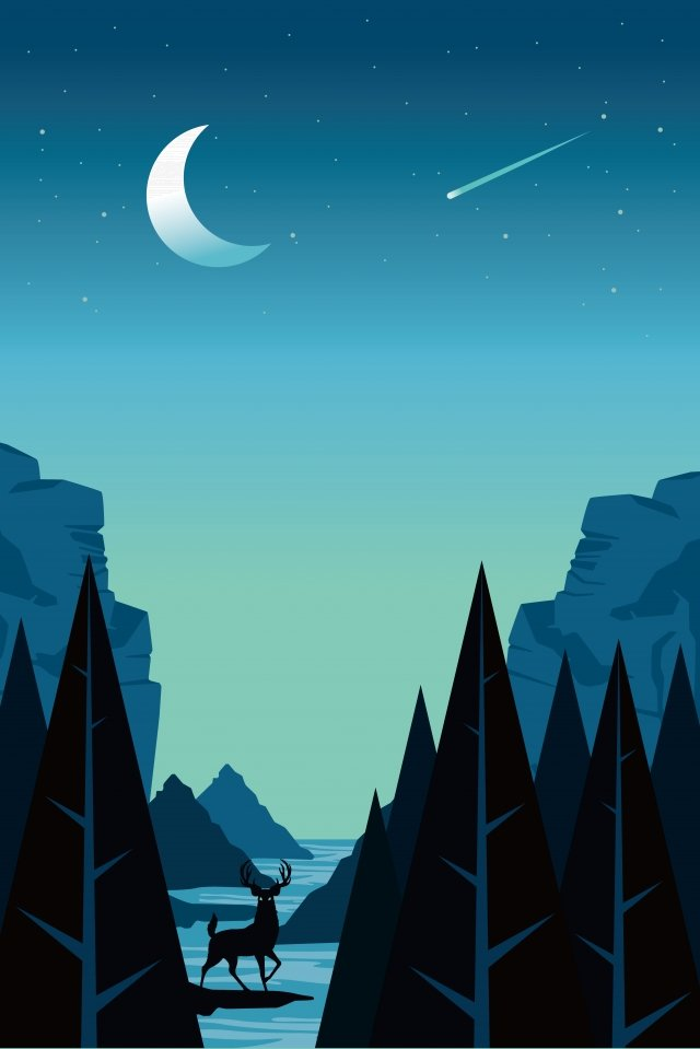 illustration night field landscape, Night Scenery, Outdoor Scenery, Outdoor illustration image