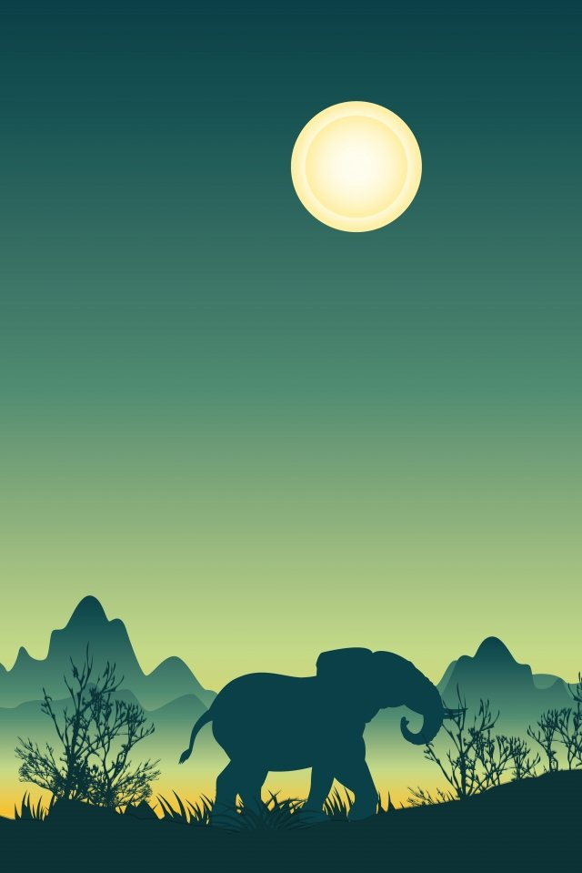 illustration night landscape elephant, Night Line, Night Scenery, Night Grassland illustration image