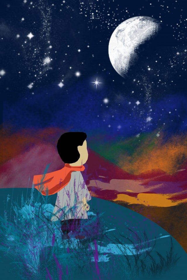 illustration night starry sky beautiful, Outdoor, Beautiful, Little Boy illustration image