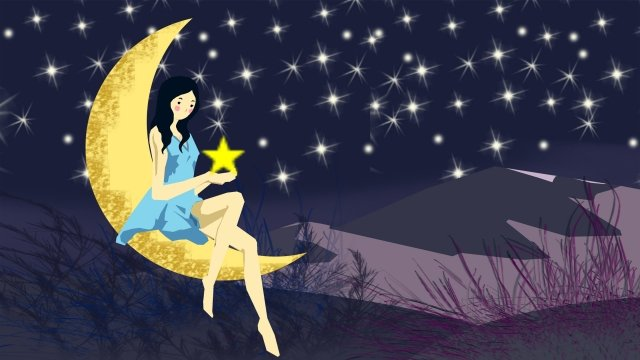 illustration night starry sky summer night, Beautiful, Flat, Star illustration image