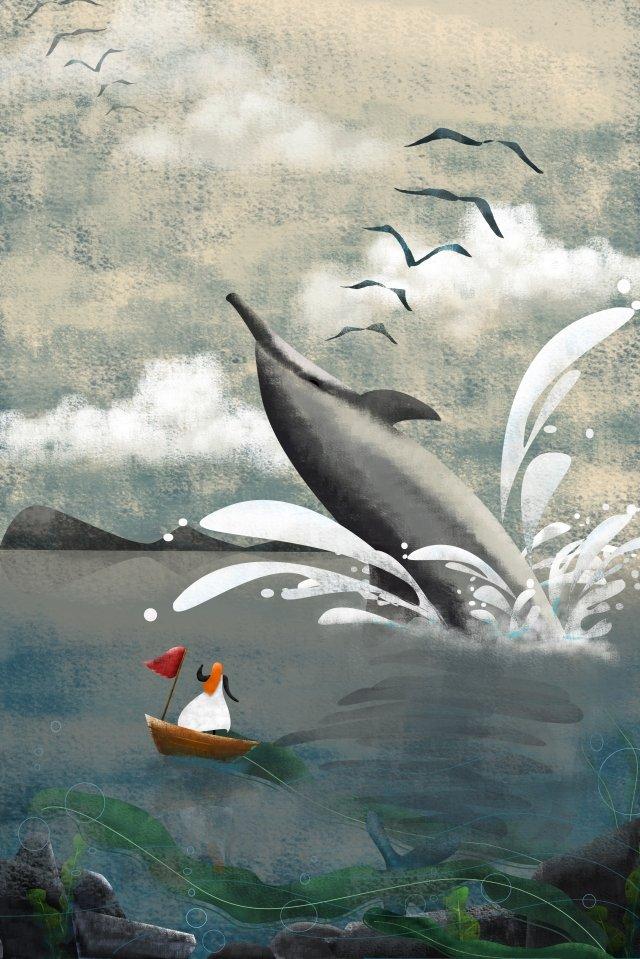 illustrazione oceano delfino barcaCielo  Nuvola  Barriera PNG E PSD illustration image