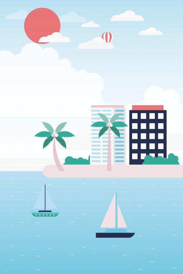 海洋小岛旅行风景 插画 海洋 小岛度假小岛  船  度假PNG和矢量 illustration image