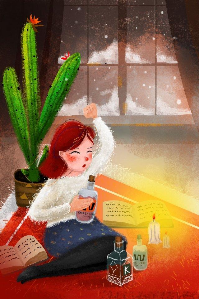 Loạt chủ đề năng lượng mặt trời mùa đông minh họa Osamu Snow Minh họa Osamu Tuyết rơiMinh  đỏ  Nến PNG Và PSD illustration image