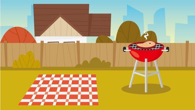 그림 야외 바베큐 바베큐 장면 바베큐 삽화 소재