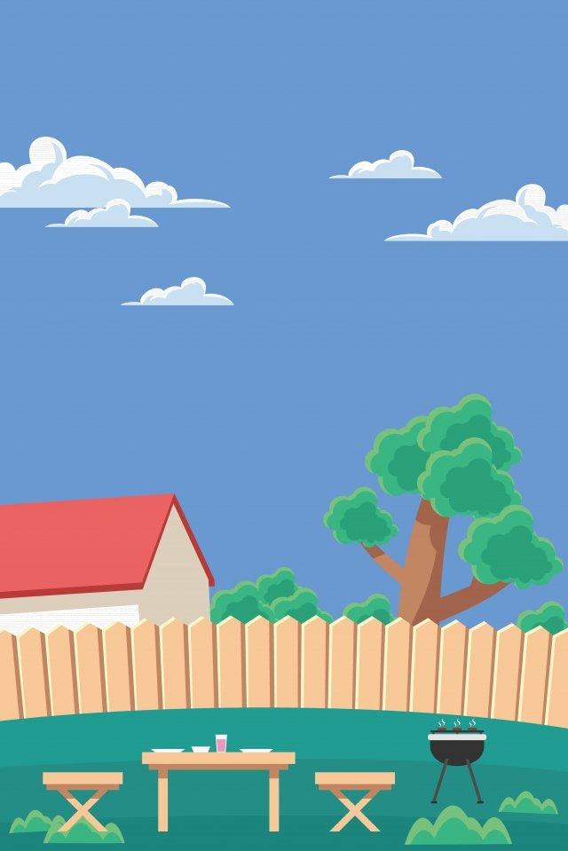 그림 야외 바베큐 장면 바베큐 삽화 이미지