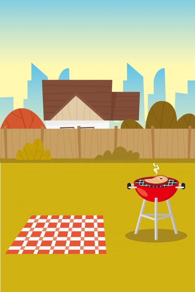 그림 야외 바베큐 바베큐 장면 삽화 이미지