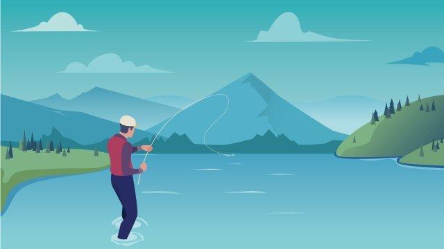 illustration outdoor fishing landscape fishing, Outdoor, Landscape, Mountain Range illustration image
