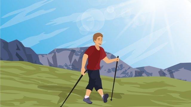 ウォーキングによる徒歩旅行の図屋外ハイキング イラスト素材 イラスト画像