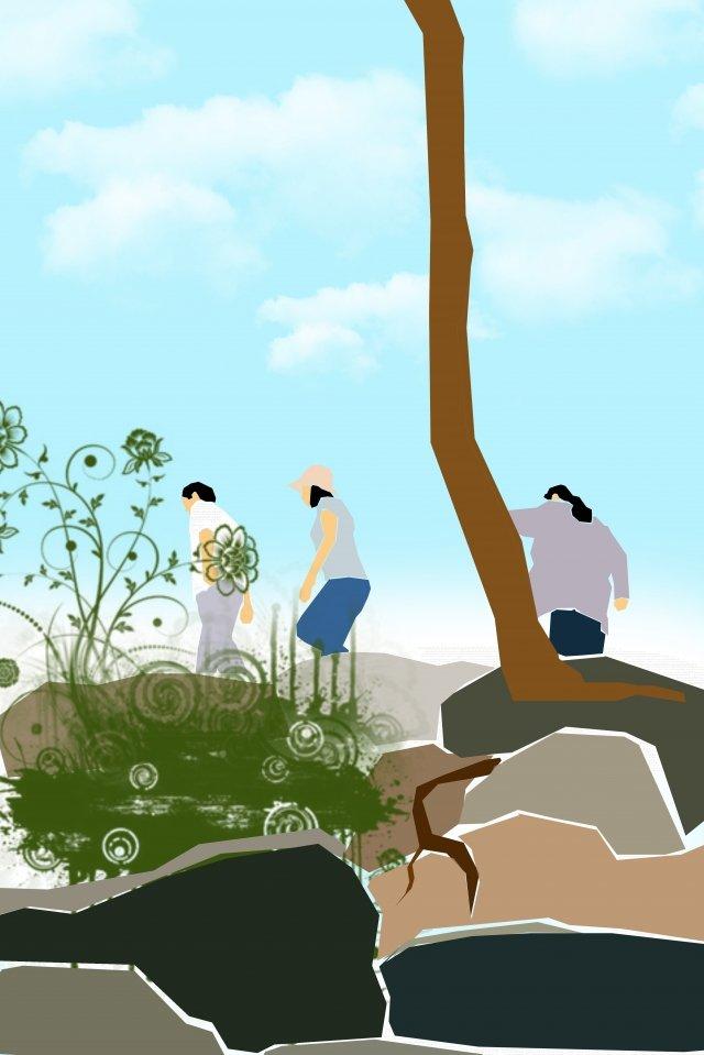 equipe de caminhadas ao ar livre de ilustração Material de ilustração
