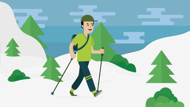 イラスト屋外ハイキング旅行の文字が歩いて イラスト素材 イラスト画像