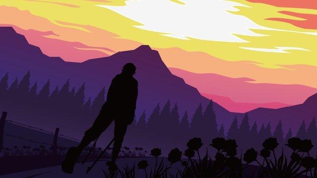 イラスト屋外ハイキング旅行の風景 イラスト素材 イラスト画像