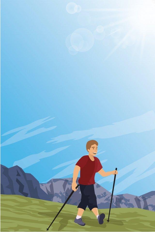 イラスト屋外ウォーキングキャラクター徒歩旅行の上を歩く イラスト画像