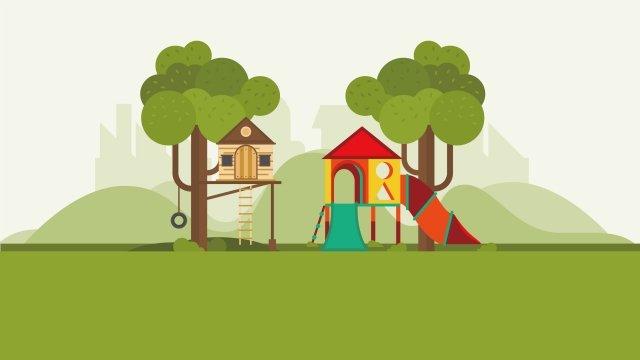 그림 공원 어린이 엔터테인먼트 풍경 삽화 소재