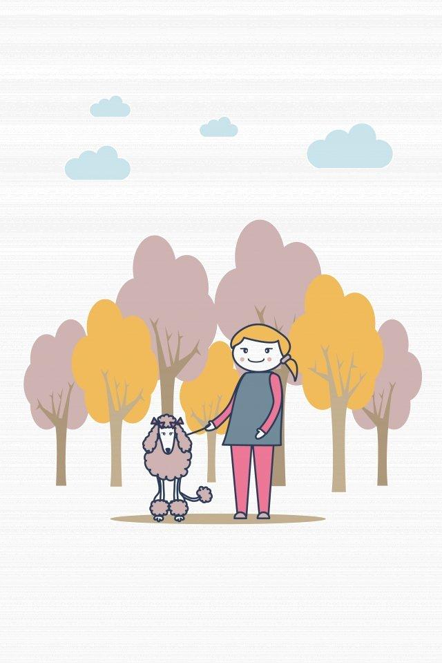 그림 공원 하이에나 산책 장면 삽화 소재 삽화 이미지