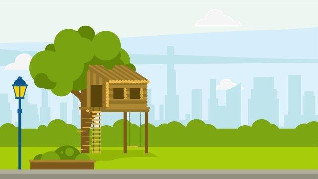 公園の木の家の風景イラスト イラスト パークツリーハウス 風景 公園 こども 子供向けエンターテイメント エンターテイメント 公園の子供たち 公園の風景 夏の風景イラスト  パークツリーハウス  風景 PNGおよびベクトル illustration image