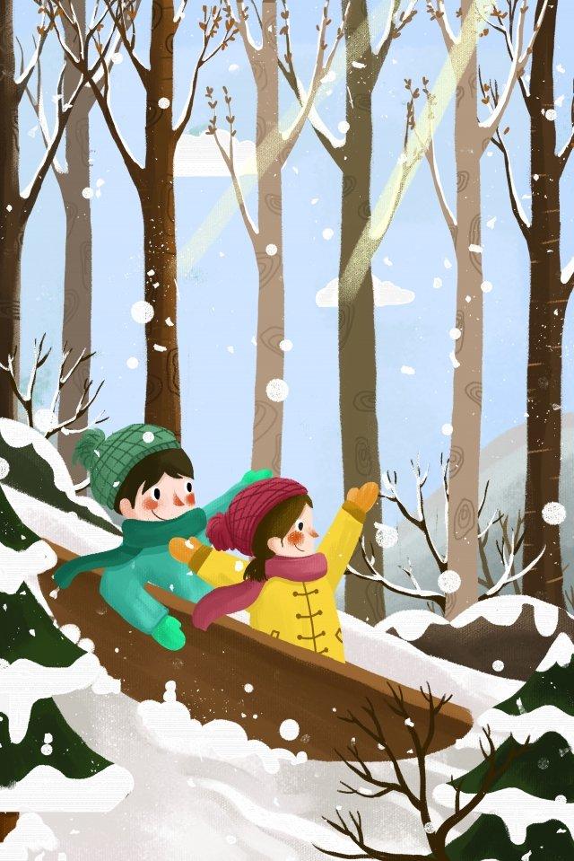 屋外雪のイラスト再生 イラストレーション画像