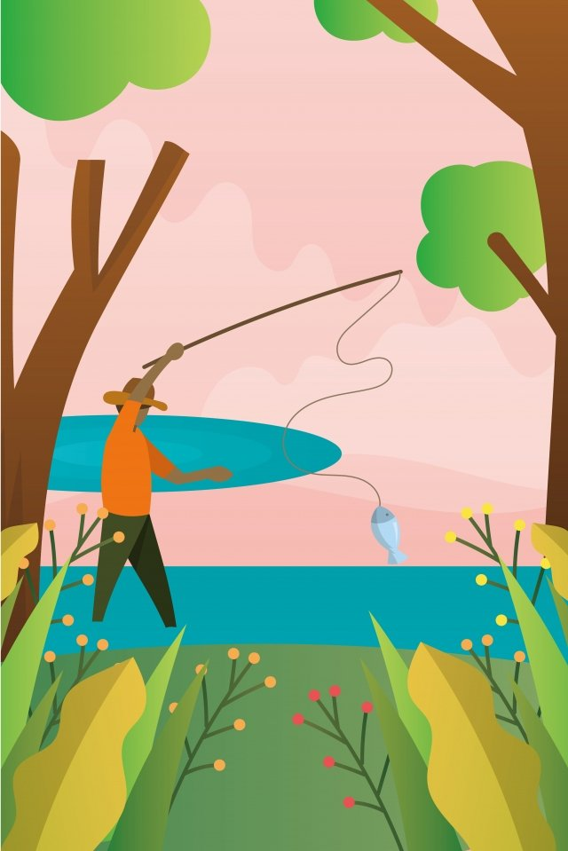 illustration pond fishing landscape, Pond Landscape, Fishing Leisure, Landscape illustration image