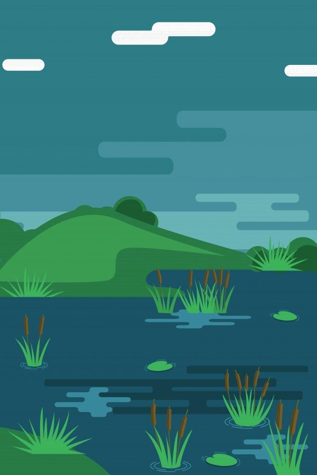 例證池塘風景夏天池塘河 插畫素材