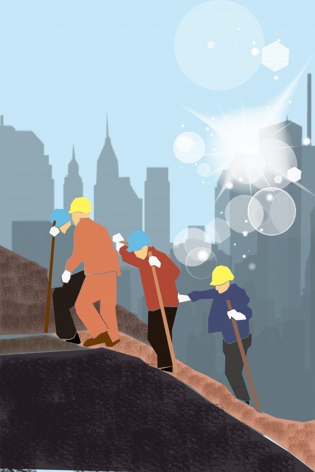 equipe de construção de cartaz de ilustração Material de ilustração