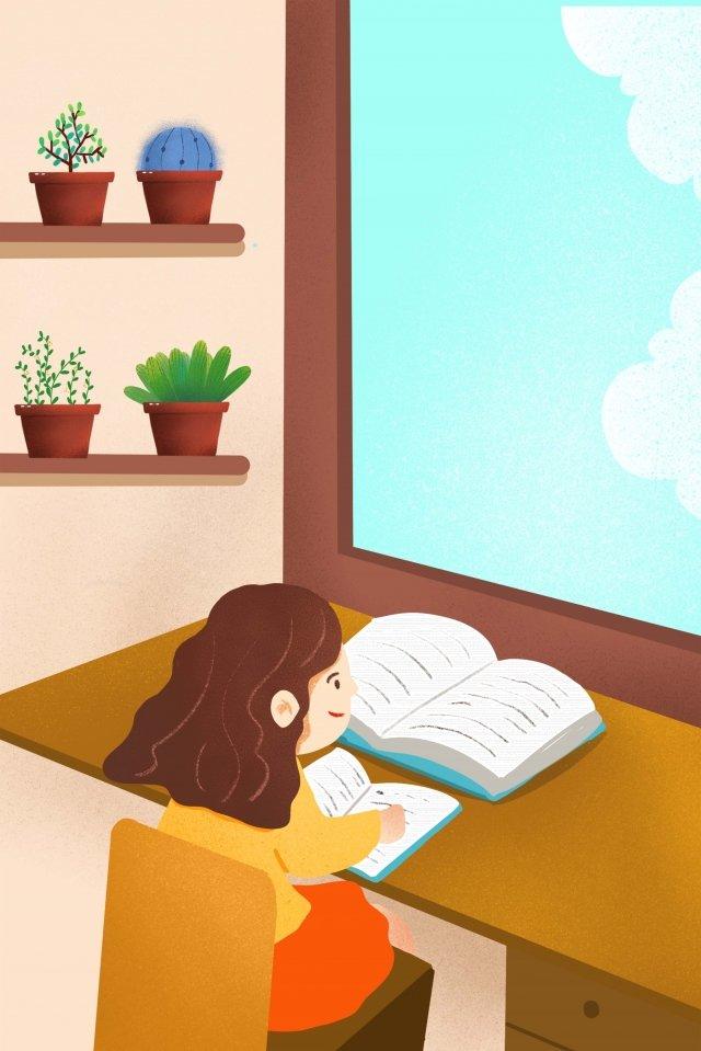 चित्रण पढ़ने वाला बच्चा पढ़ रहा है चित्रण छवि