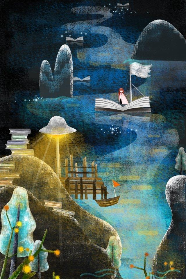 海の光を読むイラスト イラスト素材