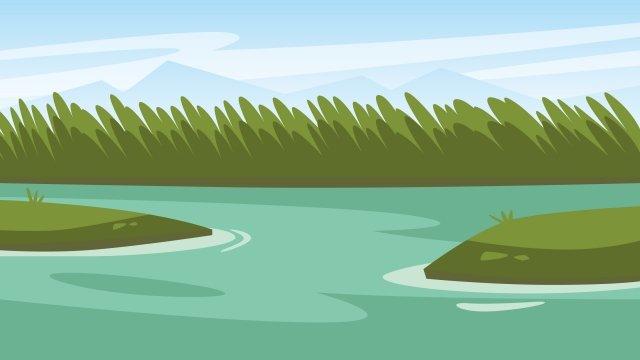 イラスト川岸水風景川川水 イラスト素材 イラスト画像