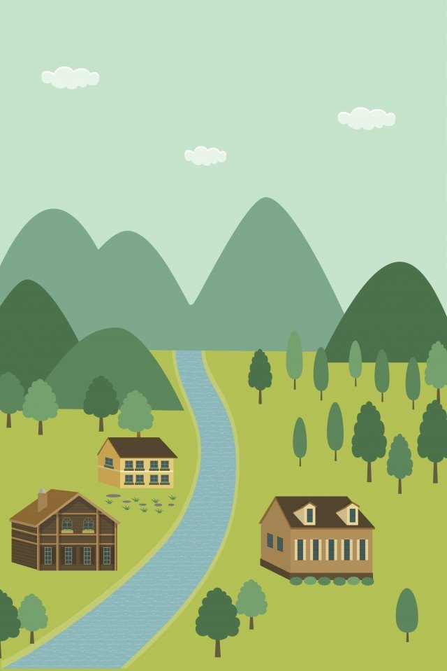 illustration river cabin landscape, Landscape, House, Live illustration image