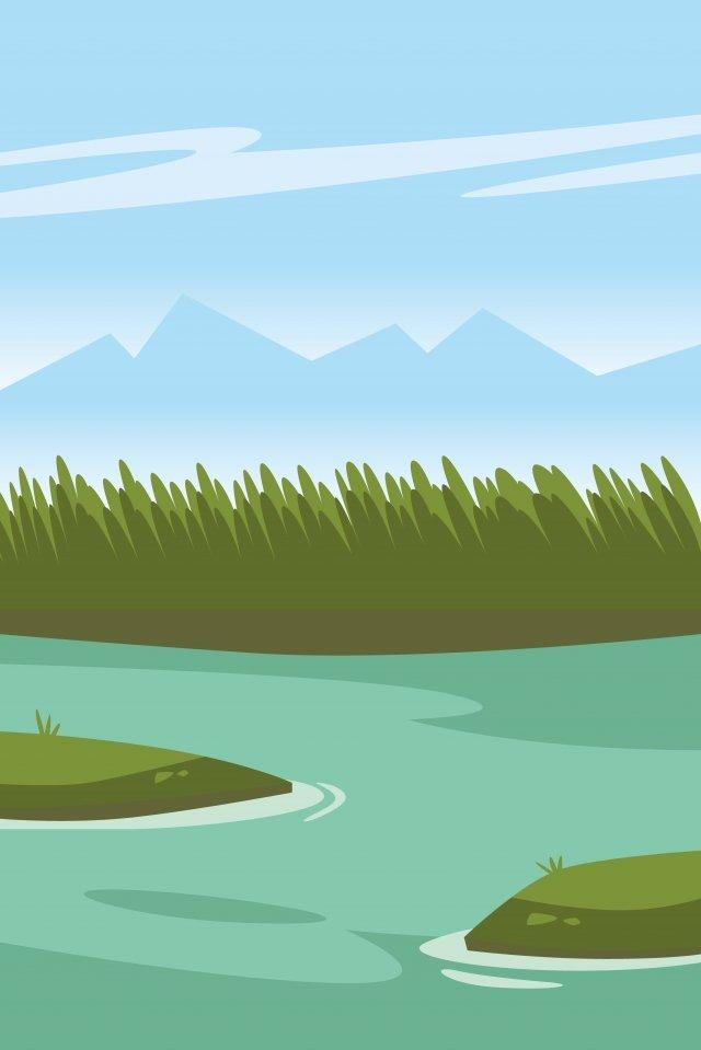 例證河河沿風景夏天河 插畫素材