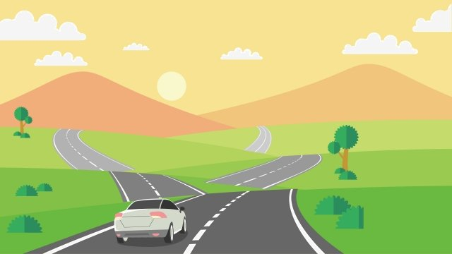 illustration road trip landscape travel, Travel Scenery, Highway, Self-driving Tour illustration image