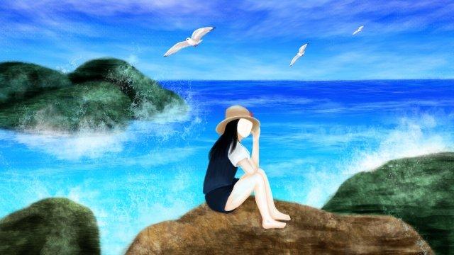 그림 바다 해변 놀이 삽화 소재