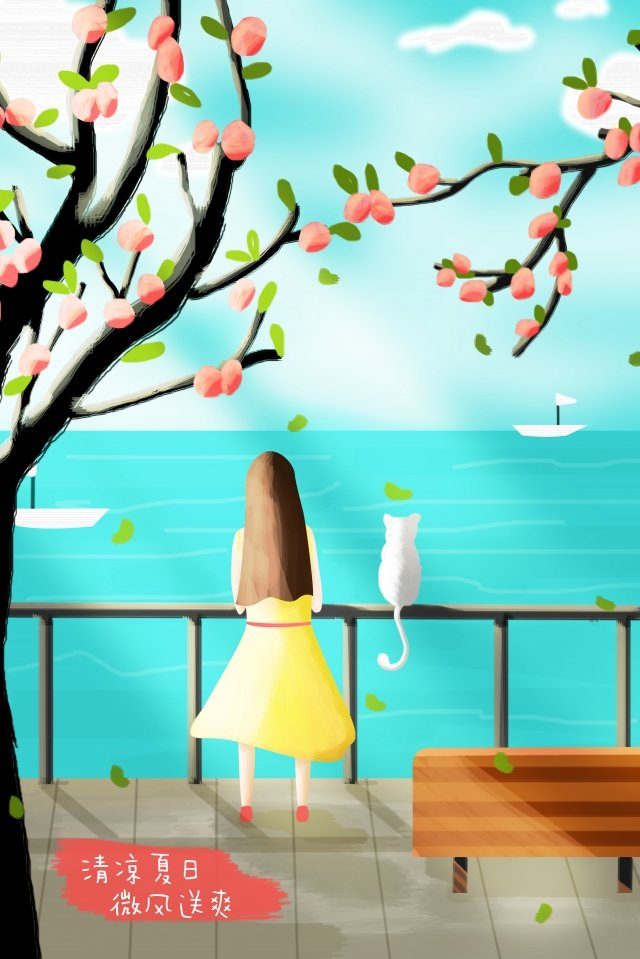 illustration seaside hand painted summer, Breeze, Cool, Girl illustration image
