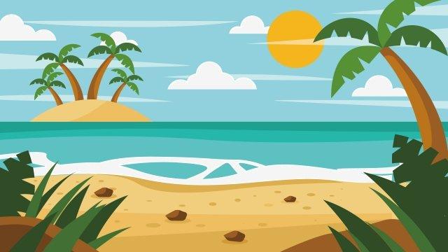 イラスト海辺の小さな島の風景 イラスト素材