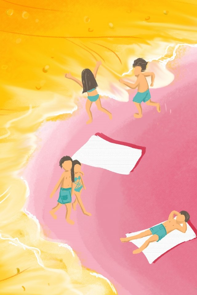 illustration simple literary fresh, Beer Festival, Beer, Beach illustration image