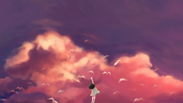 illustration sky sunset glow child, Pigeon, Fly, Free illustration image