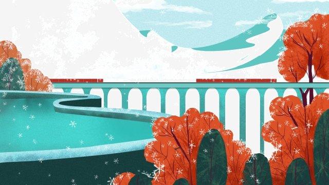 illustration snow scene winter distance, Landscape, Illustration, Snow Scene illustration image