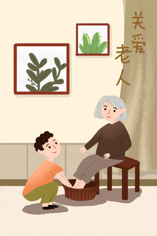 minh họa sinh kế xã hội chăm sóc cho người già minh họa Hình minh họa