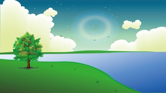 그림 봄 저녁 풍경 삽화 소재 삽화 이미지