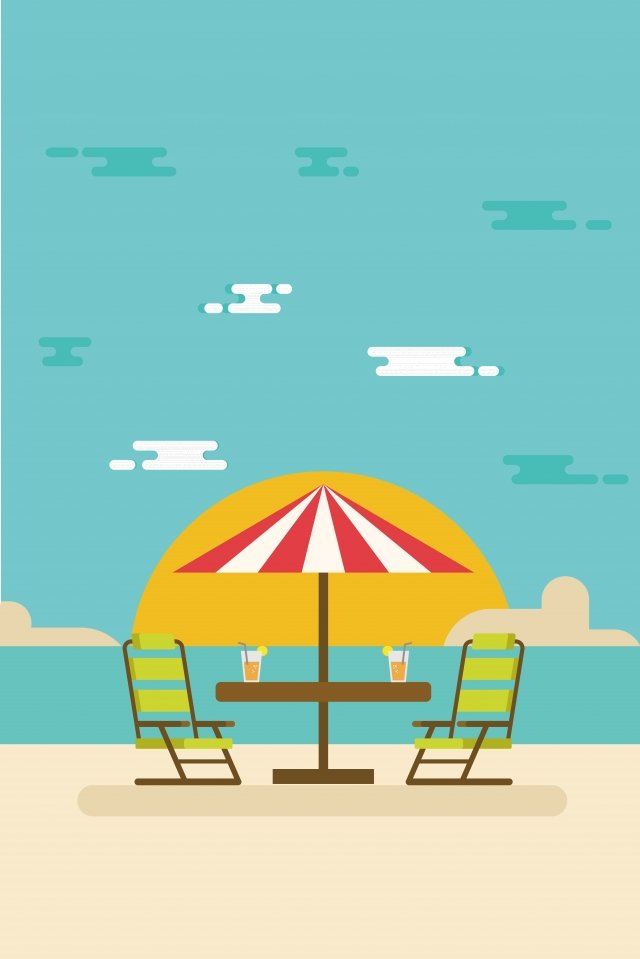 illustration summer beach vacation, Beach Holiday, Seaside, Seaside Resort illustration image