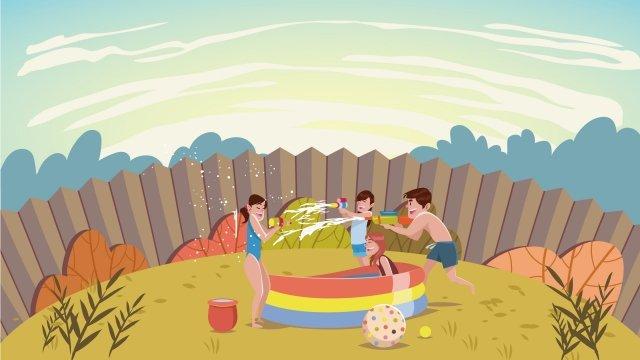 夏の新鮮な手描きのイラスト青空  風  スイカ PNGおよびベクトル illustration image