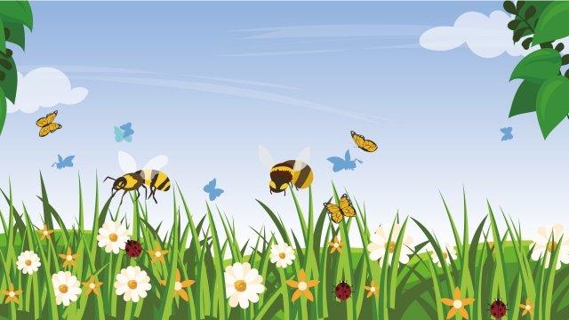 그림 여름 꽃과 식물 동물 풍경 삽화 소재